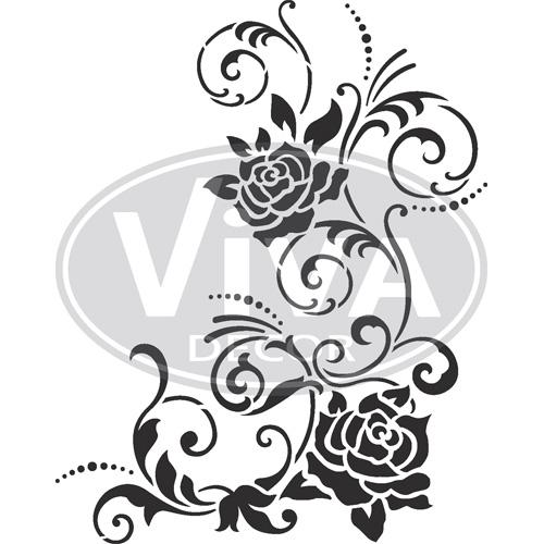 Filigree Flowers A4 Stencil