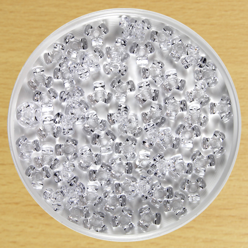 Plastic Tri Beads Clear